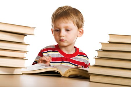 Child with book on white background photo