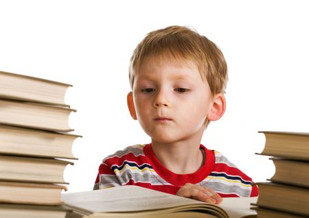 Funny kid with books photo