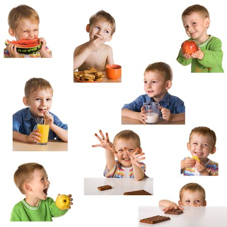 Set child and food Stock Photo