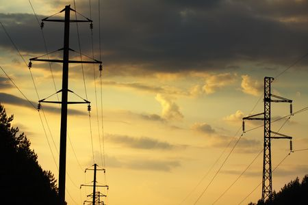 poling: Electric poling on a background the beautiful sky Stock Photo