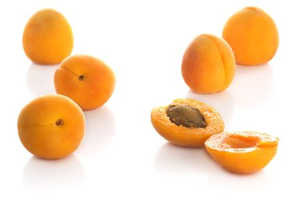 apricot kernels: Apricots isolated Stock Photo