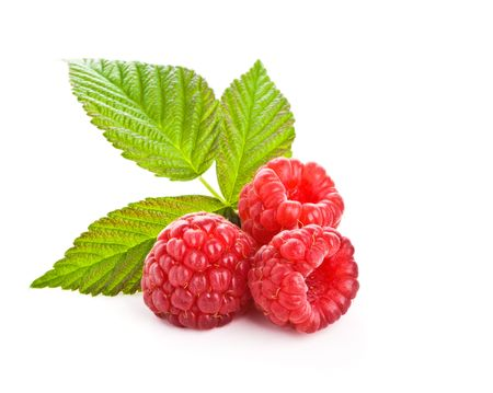 Bunch of a red raspberry on a white background