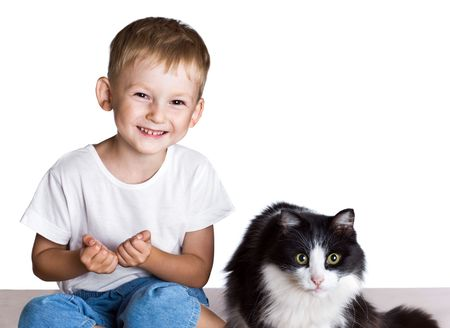 Little boy and big cat isolated photo