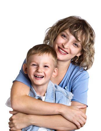 Retrato de ni�o feliz y su madre