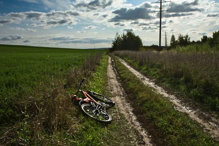 poling: Autumn landscape with a bicycle Stock Photo