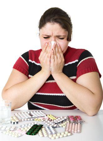 ragazza malata: Malato ragazza con un fazzoletto