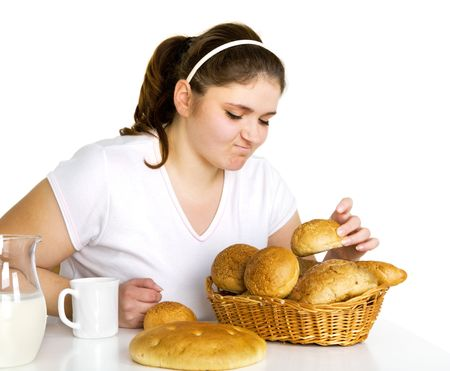 Girl loving rolls Stock Photo