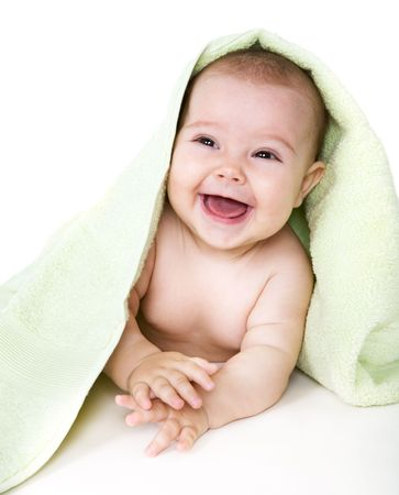 Happy baby with towel  Stock Photo - 3760036