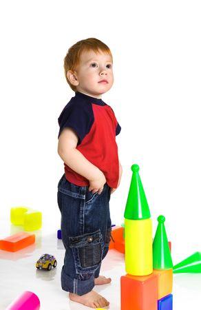 Redheaded sad kid with cubes Stock Photo - 3760034