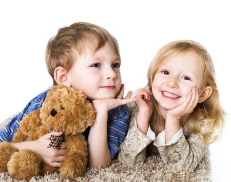 Charming couple of children Stock Photo