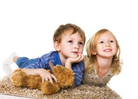 Niños viendo la película de los niños Foto de archivo - 3940351