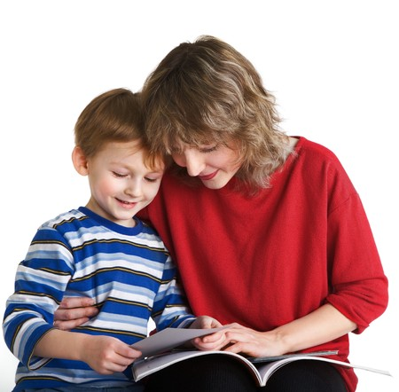 Son with mother read the book photo