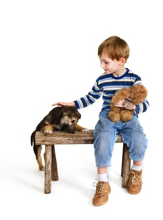 Child on bench and puppy