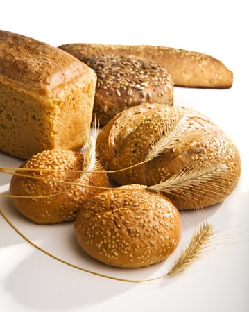 Fresh bread with ears of wheat Stock Photo - 4258783