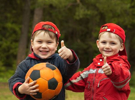 Happy kids with a ball Stock Photo - 4578326