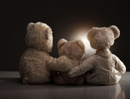 three objects: Family of teddy bear