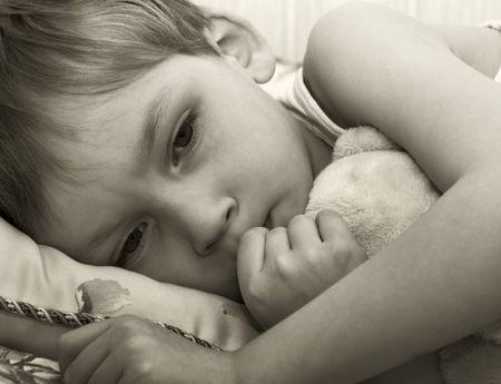 lonely boy: Thoughtful little boy