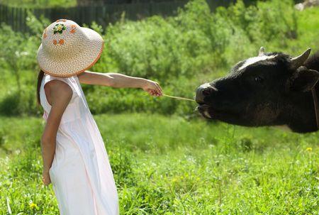 Ni�a y la vaca Foto de archivo