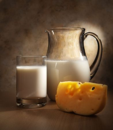 jugs: Milk and cheese Stock Photo