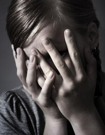 maltrato: Miedo a los ni�os Foto de archivo