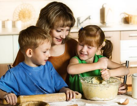 woman baking: Baking together Stock Photo