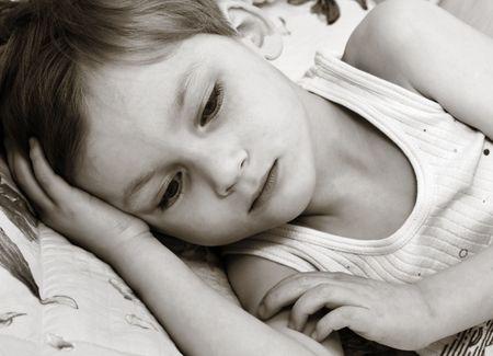 Thinking little boy photo