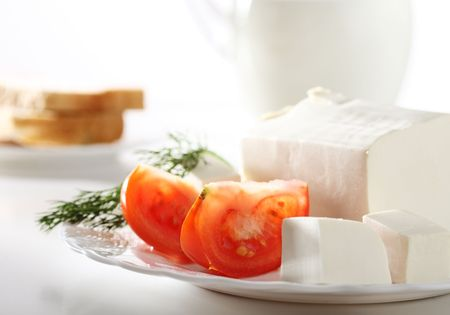 Vegetarian breakfast with feta cheese Stock Photo