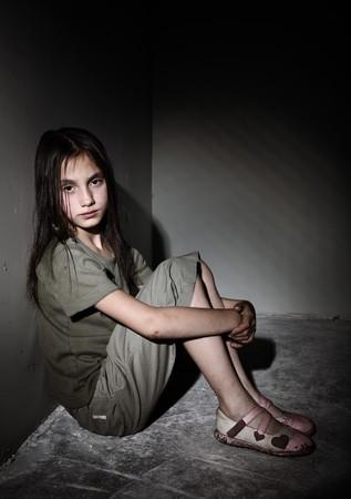 homeless children: Neglected little girl
