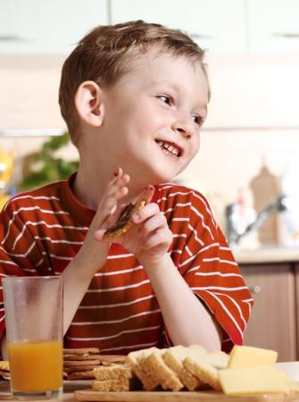 Breakfast of little boy photo
