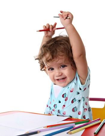 Baby girl painting photo