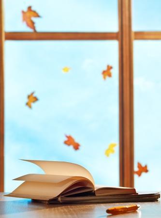 ventanas abiertas: Los libros de texto en la ventana de fondo con las hojas de arce
