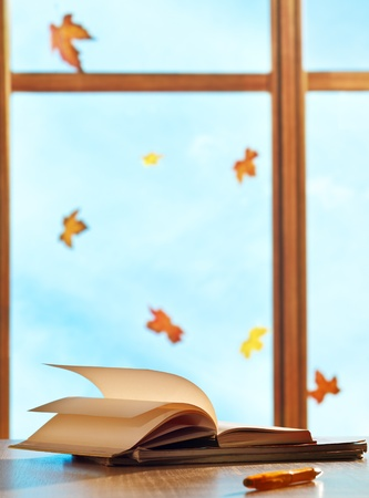 windows frame: Textbooks on window background with maple leaves Stock Photo