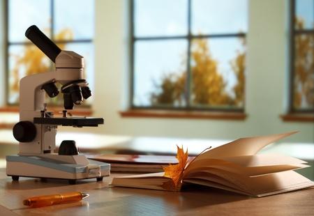 School microscope in classroom Stock Photo - 15076269