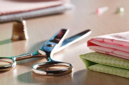 sewing supplies: Scissors and sewing supplies closeup