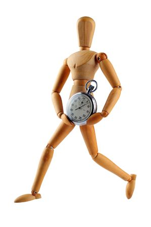 wood man running with stop watch, studio shot  photo