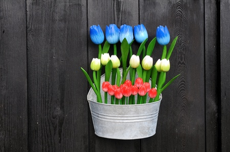 Colorful wooden flowers photo