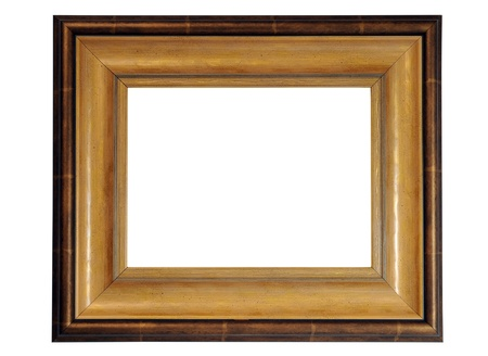 Antique gold frame isolated on white background photo