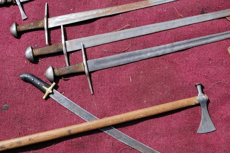 crusades: Set of old swords  Stock Photo