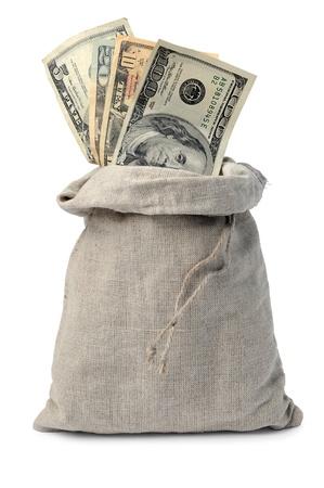stash: Canvas money sack with dollar bills Stock Photo