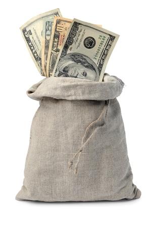 dinero falso: Lienzo bolsa de dinero con billetes de un d�lar