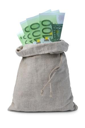 batch of euro: Sack with euro money isolated on white background Stock Photo
