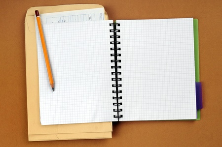 Pencil on open white paper note book