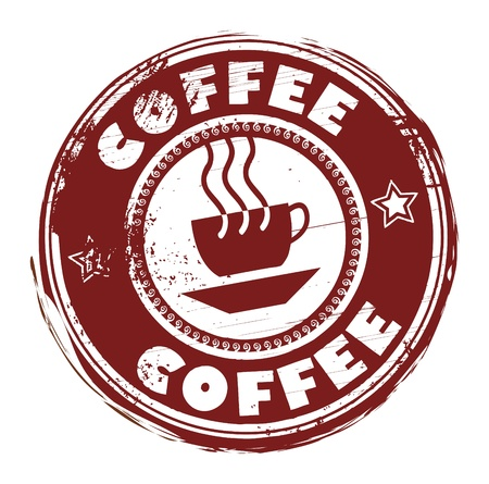 coffee beans background: Grunge rubber stamp with coffee cup