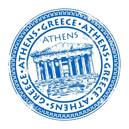 Abstract grunge rubber stamp with the Parthenon shape from Greece and the name Athens written inside the stamp
