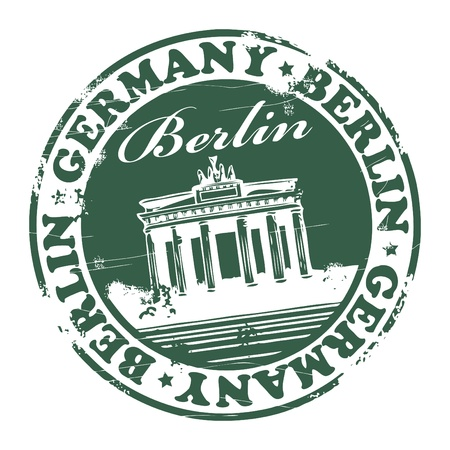 Grunge rubber stamp with the name of the capital of Germany, Berlin - written inside the stamp Vector