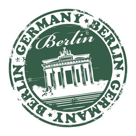 estampa: Grunge sello de goma con el nombre de la capital de Alemania, Berl�n - por escrito dentro del sello