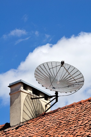 Satellite dish on the building photo