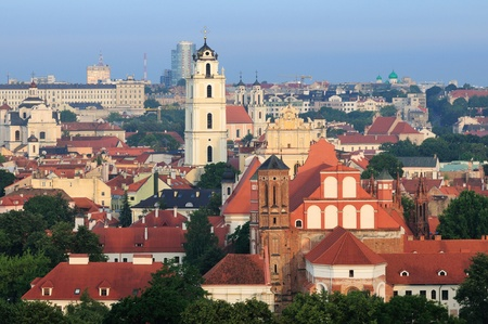 oldtown: Vilnius old town cityscape, morning Stock Photo
