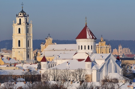 Vilnius old town cityscape, winter morning photo