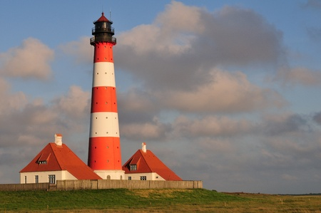 westerheversand lighthouse: Lighthouse Westerhever in Schleswig-Holstein, North Germany Stock Photo